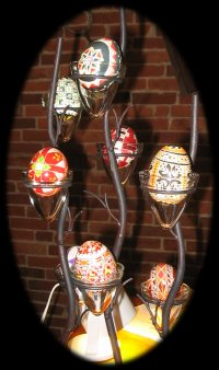 A display of Pysanky eggs, created by Marg Millard