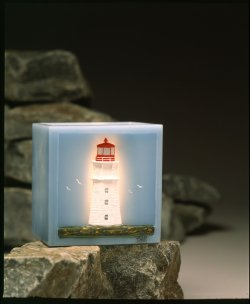 A Lighthouse Collectible:  Hand Painted Luminary Candle, created by Chester Candles
